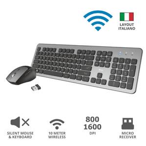 Set Mouse e Tastiera TRUST Wireless ultrasottile con tasti silenziosi ITALIANA