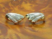 14kt 585 bicolor Gold Ohrstecker mit Diamant Besatz / Ohrringe / 3,0g