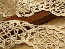 4.8 Yds lot ~Antique VICTORIAN Vtg Fine HAND Tatting lace Trim Ecru~Bridal Dolls