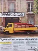 PUBLICITÉ 1985 MERCEDES 409D SIGNE EXTÉRIEUR DE PROFESSIONNALISME - ADVERTISING