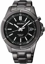 SEIKO SKA547 MEN'S SPORT KINETIC DATE BLACK DIAL BLACK ION PLATED S.STEEL WATCH