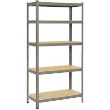"72"" Heavy-Duty 5 Level Garage Metal Storage Rack Adjustable Shelves- Gray/Black"