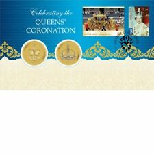 2013 Australia 2 x $1 Unc Coins, The Queens Coronation Stamp and Coin Cover PNC