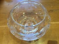 Vintage Etched Lead Crystal Rose Bowl Small Glass Vase / Nuts / Bonbon Dish
