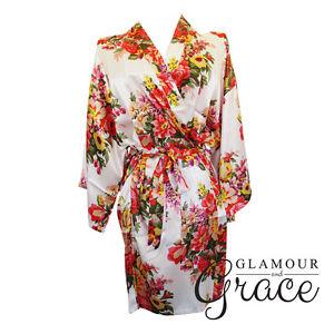 WHITE Floral Vintage Satin Robe Dressing Gown Wedding Bridal Bride Bridesmaid