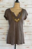 NWT Awake Inc. - Brown DISTRESSED beaded V-neck tee shirt, size L