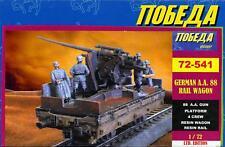 BUM Models 1/72 GERMAN RAIL WAGON with 88mm ANTI AIRCRAFT GUN & CREW Figure Set