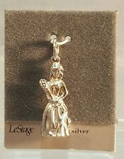 "Sterling Silver 1"" Woman Pageant Winner With Flowers Charm or Pendant New"