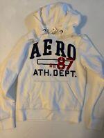 AERO Aeropostale Men's White Embroidered Logo Hoodie Hooded Sweatshirt XS NWT