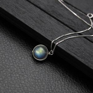 Labradorite Pendant Necklace in Genuine Sterling Silver Gemstone Women's Jewelry