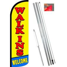 Walk-ins Welcome Windless-Style Feather Flag Bundle 14' OR Replacement Flag Only