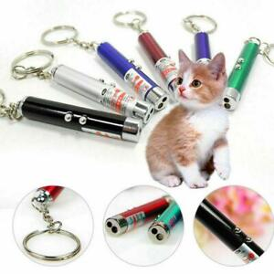 2 In1 Mini Red Pointer Pen Keychain Flashlight Child Pet Cat Toy NEW