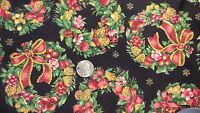 "Vintage Cotton Fabric GLITZY CHRISTMAS WREATHS ON BLACK V.I.P. 1 Yd/44"" Wide"