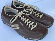 Skechers 45459 Brown Leather Lace Up Athletic Sneakers Walking Shoes Size 10