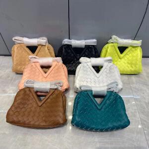 Triangle Handle Woven Microfibre Leather Tote Bag Clutch Crossbody Purse Small