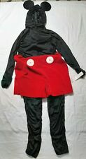 Disney Store Mickey Mouse Costume Adult Size Medium Hoodie Ears Zips In Back NWT