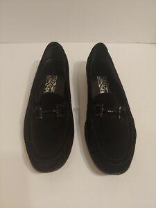 Vintage Ferragamo Horsebit Loafers 8.5 AAA  Black Suede