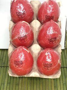Vintage Dansk Egg Shaped Candles Red Hong Kong 01806 RE NEW Sealed 6 in Box