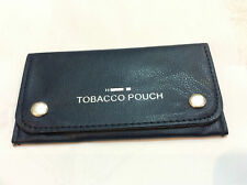 Soft Black Leather Tobacco Pouch Lined Paper Slot Rolling Pocket RIZLA Smoking