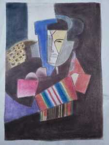 Diego Rivera mixed media drawing on old cardboard hand made signed & stamped vtg
