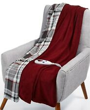 Biddeford Heated Electric Plush Throw Blanket Claret Red Gray Plaid Reversible