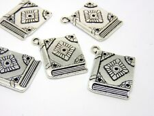 5 Pcs -  Tibetan Silver Book Charm 25mm Jewellery Pendant Teacher Story W54