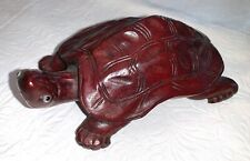 Elegant Wood Carved Red Mahogany Stained Turtle Figurine