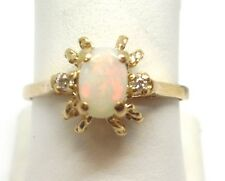 10K YELLOW GOLD OVAL OPAL AND DIAMOND RING RETAIL $230