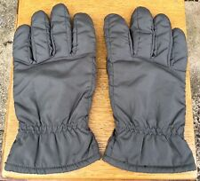 * SAKS 5TH AVENUE * Men's Polyester + Leather Trim Grey Gloves Lined   Medium
