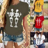 Women Short Sleeve T-Shirt Love Heart Print Fashion Casual O-Neck Tops Blouse HL