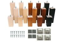 4x Wooden Furniture Square Tapered 4' 6' 8' Feet Legs For Bed Stools Sofa Chair