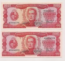 Two Banco Central Del Uruguay Banknotes--Pristine Condition !