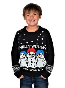 KESIS Children Chillin With Snowmies Ugly Christmas Sweater 3-4Y