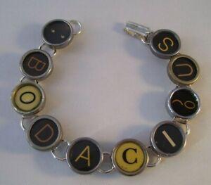 Vintage Typewriter Key Bracelet BODACIOUS 10 Glass Keys Hand Made OOAK