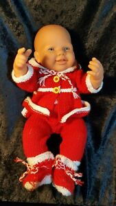 """Vintage Life Size Happy Baby Doll Toy with Knitted Clothes 1lb 11 1/2 oz 17"""""""