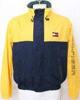 Tommy Hilfiger Vtg Yellow Full Zip Hood Pockets Windbreaker Jacket Men's L