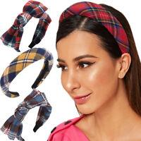 Women's England Plaid Tie Headband Padded Hairband Hair Band Hoop Accessories