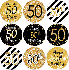 Black and Gold 50th Birthday Party Favor Stickers - 180 Labels