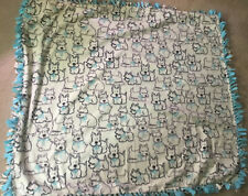 Soft BLANKET SCOTTIE DOG WHITE BLANKET TEAL HUGE
