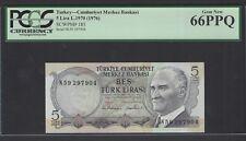 Turkey  5 Lira L.1970(1976) P185 Uncirculated Grade 66