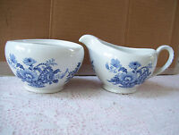 Alfred Meakin Staffordshire England Creamer & No Lid Bowl Charlotte pattern Blue