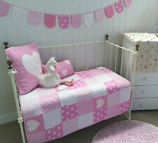 4 pce Lucy Pink Patchwork Cotton Baby Girls Nursery Cot Quilt & Cushion Bunting