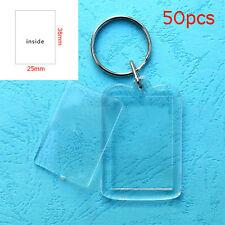 50x Custom Personalised Insert Photo Acrylic Blank Key Keyrings Keychain Sale