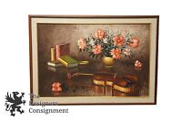 O. Pilenyi Signed Impressionist Still Life Oil Painting Flowers Violin Books 41""