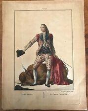 Pedro Romero torero la adoración de trajes de España 1777 Placa