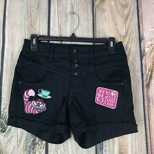 Disney Black High Waisted Button Fly Cheshire Cat We're All Mad Here Shorts 1
