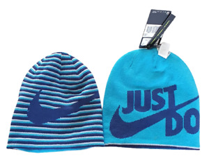 Nike Just Do It Reversible Beanie Youth Blue Double Warmth Sale Item