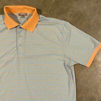 Peter Millar Summer Comfort Men's Golf Polo Shirt Pink & Blue Striped Sz L Large