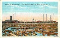 Virginia Minnesota Rainy Lake White Pine Mill in world Kropp postcard 6743