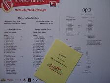 Aufstellung Info Speisekarte 2013/14 Energie Cottbus - Greuther Fürth
